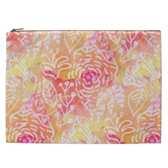 Sunny Floral Watercolor Cosmetic Bag (xxl)  by KirstenStar