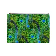 Emerald Boho Abstract Cosmetic Bag (large)  by KirstenStar