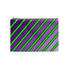 Purple And Green Lines Cosmetic Bag (medium)
