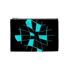 Blue Abstract Flower Cosmetic Bag (medium)