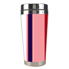Pink And Blue Lines Stainless Steel Travel Tumblers by Valentinaart