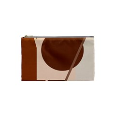 Brown Geometric Design Cosmetic Bag (small)  by Valentinaart