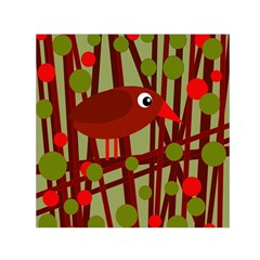 Red Cute Bird Small Satin Scarf (square) by Valentinaart