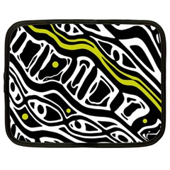 Yellow, Black And White Abstract Art Netbook Case (xl)  by Valentinaart