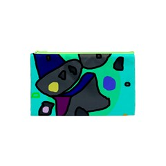 Blue Comic Abstract Cosmetic Bag (xs) by Valentinaart