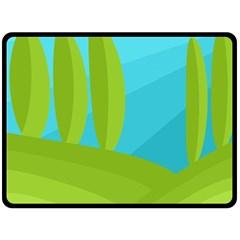 Green And Blue Landscape Fleece Blanket (large)  by Valentinaart