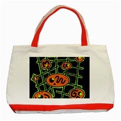 Orange And Green Abstraction Classic Tote Bag (red)