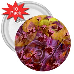 Falling Autumn Leaves 3  Buttons (10 Pack)