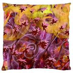 Falling Autumn Leaves Large Flano Cushion Case (one Side)
