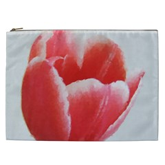 Tulip Red Watercolor Painting Cosmetic Bag (xxl)  by picsaspassion