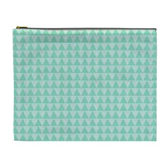 Mint Color Triangle Pattern Cosmetic Bag (xl) by picsaspassion