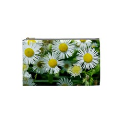 White Summer Flowers, Watercolor Painting Cosmetic Bag (small)  by picsaspassion