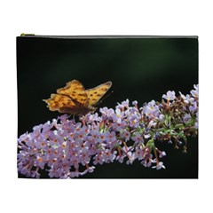 Butterfly Sitting On Flowers Cosmetic Bag (xl) by picsaspassion