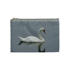 Swimming White Swan Cosmetic Bag (medium)  by picsaspassion