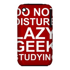 Do Not Disturb Lazy Geek Studying Glass Framed Poster Apple Iphone 3g/3gs Hardshell Case (pc+silicone) by AnjaniArt