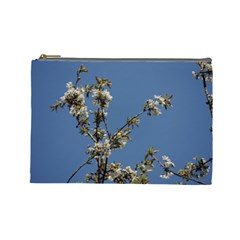 White Cherry Flowers And Blue Sky Cosmetic Bag (large)  by picsaspassion