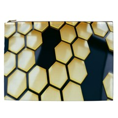 Honeycomb Yellow Rendering Ultra Cosmetic Bag (xxl)  by AnjaniArt