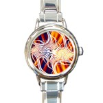 Woodstock Trip Orange Blue Fractal Round Italian Charm Watch
