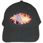 Woodstock Trip Orange Blue Fractal Black Cap