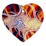 Woodstock Trip Orange Blue Fractal Ornament (Heart)