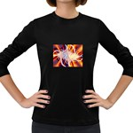 Woodstock Trip Orange Blue Fractal Women s Long Sleeve Dark T-Shirt