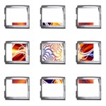Woodstock Trip Orange Blue Fractal Mega Link Italian Charm (9 pack)
