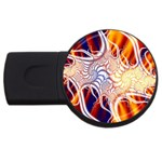 Woodstock Trip Orange Blue Fractal USB Flash Drive Round (4 GB)