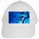 Shades of Blue Spider Tendrils Fractal White Cap