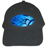 Shades of Blue Spider Tendrils Fractal Black Cap