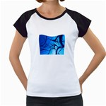 Shades of Blue Spider Tendrils Fractal Women s Cap Sleeve T