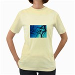 Shades of Blue Spider Tendrils Fractal Women s Yellow T-Shirt