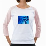 Shades of Blue Spider Tendrils Fractal Girly Raglan