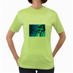 Shades of Blue Spider Tendrils Fractal Women s Green T-Shirt