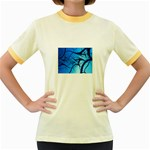 Shades of Blue Spider Tendrils Fractal Women s Fitted Ringer T-Shirt