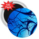 Shades of Blue Spider Tendrils Fractal 3  Magnet (100 pack)