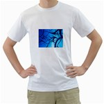 Shades of Blue Spider Tendrils Fractal White T-Shirt
