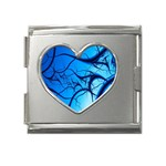 Shades of Blue Spider Tendrils Fractal Mega Link Heart Italian Charm (18mm)
