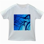 Shades of Blue Spider Tendrils Fractal Kids White T-Shirt