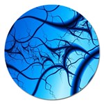 Shades of Blue Spider Tendrils Fractal Magnet 5  (Round)