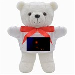 Orange Black Amoeba Fractal on Blue Teddy Bear