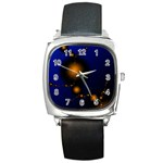 Orange Black Amoeba Fractal on Blue Square Metal Watch