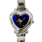Orange Black Amoeba Fractal on Blue Heart Italian Charm Watch