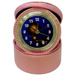 Orange Black Amoeba Fractal on Blue Jewelry Case Clock