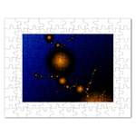 Orange Black Amoeba Fractal on Blue Jigsaw Puzzle (Rectangular)
