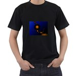 Orange Black Amoeba Fractal on Blue Black T-Shirt