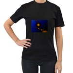 Orange Black Amoeba Fractal on Blue Women s Black T-Shirt