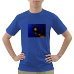 Orange Black Amoeba Fractal on Blue Dark T-Shirt