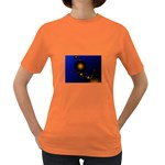 Orange Black Amoeba Fractal on Blue Women s Dark T-Shirt