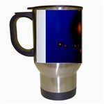 Orange Black Amoeba Fractal on Blue Travel Mug (White)