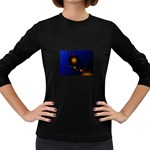Orange Black Amoeba Fractal on Blue Women s Long Sleeve Dark T-Shirt